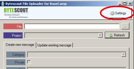 File Uploader for BaseCamp main window