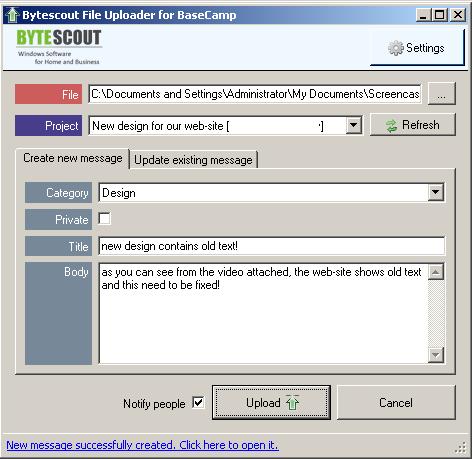 Built-in file uploader for BaseCamp