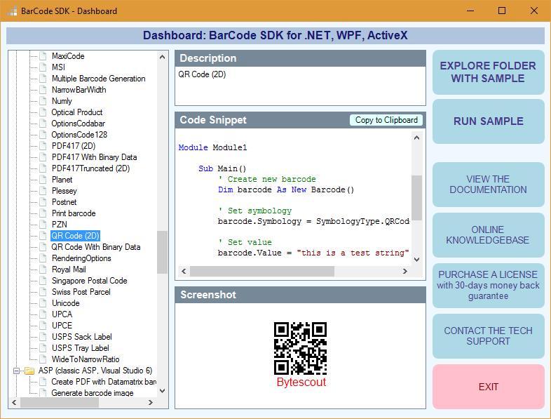Bytescout Barcode Generator SDK for  NET, ASP NET, SSRS, WinForms