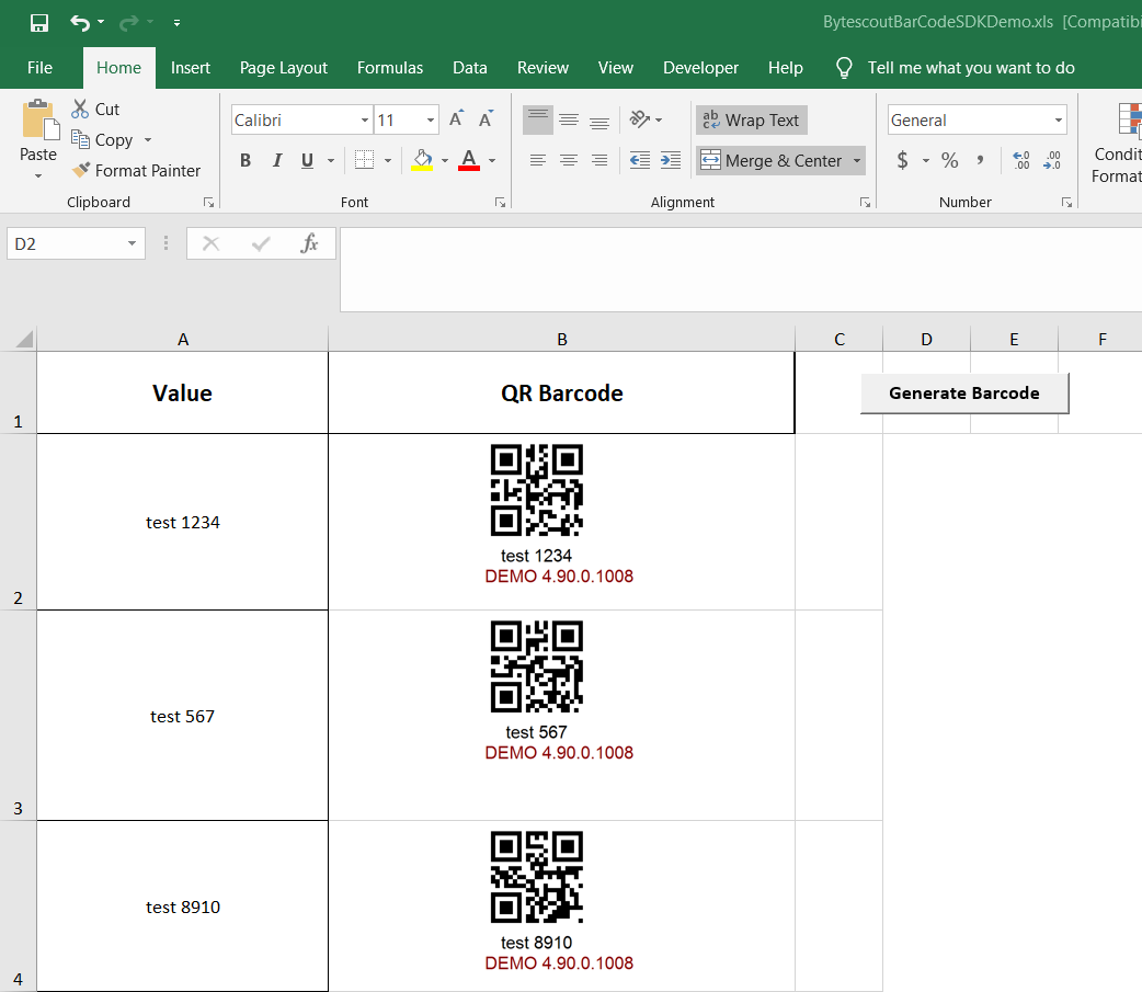 Generating QR Code barcodes from cells in Excel using VBA and
