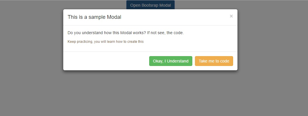 Sample modal dialog window displayed with two buttons