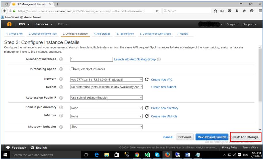 Configure AWS EC2 Instance Details.