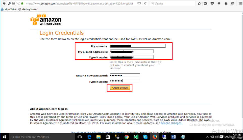 Fill Form to Sign Up to AWS Account