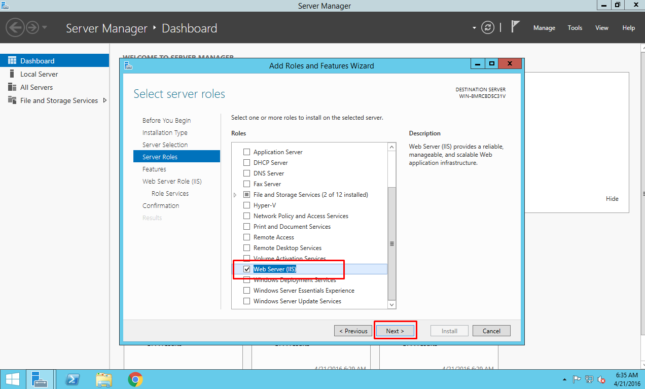 Setting IIS on EC2 Instance: Selecting server