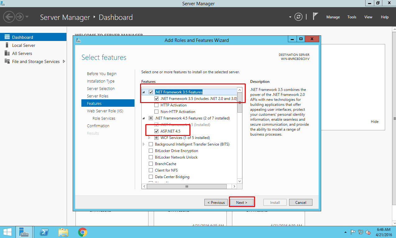 Setting IIS on EC2 Instance: Selecting Features