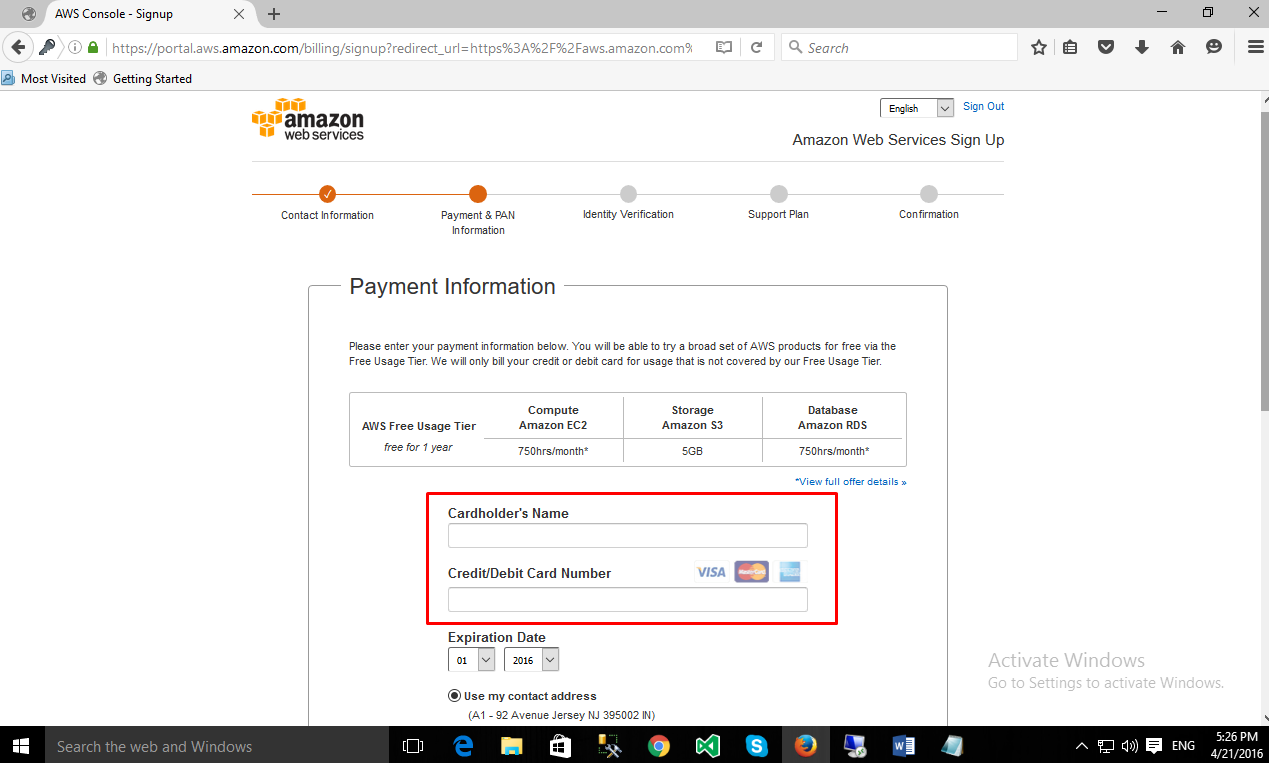 Signing up to Amazon Web Services: Adding Credit Card details