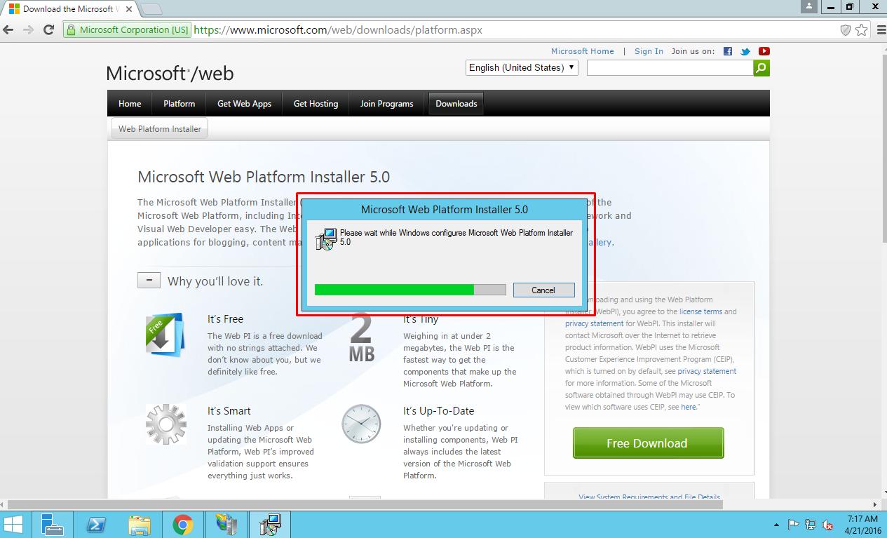 Running Microsoft Web Platform Installer.