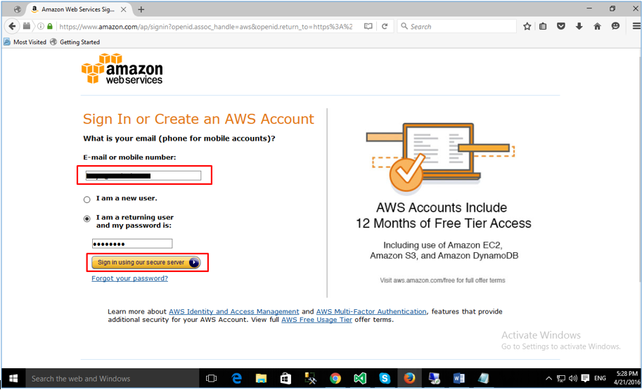 Log in to AWS Console