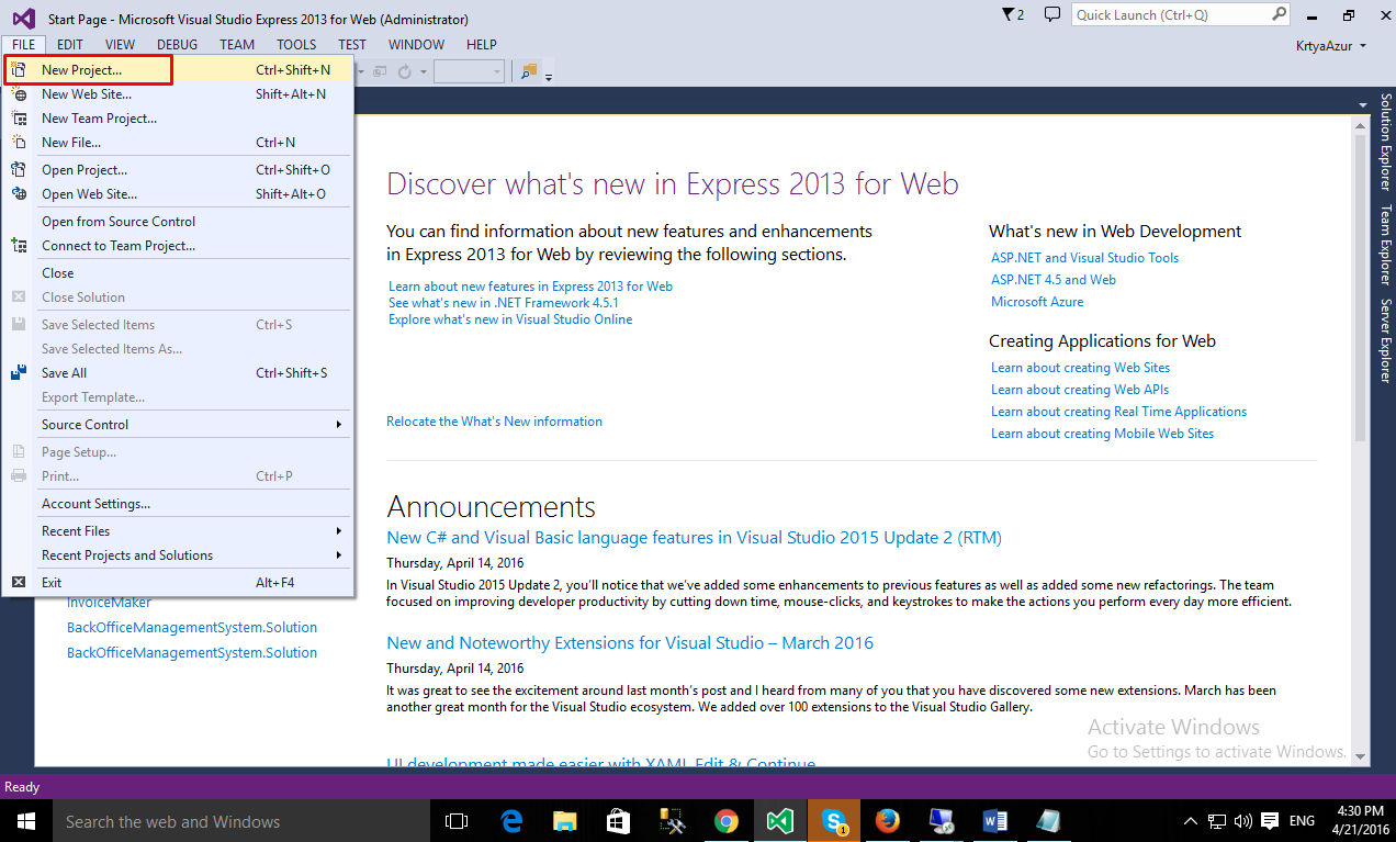 Create a new project in Web Express