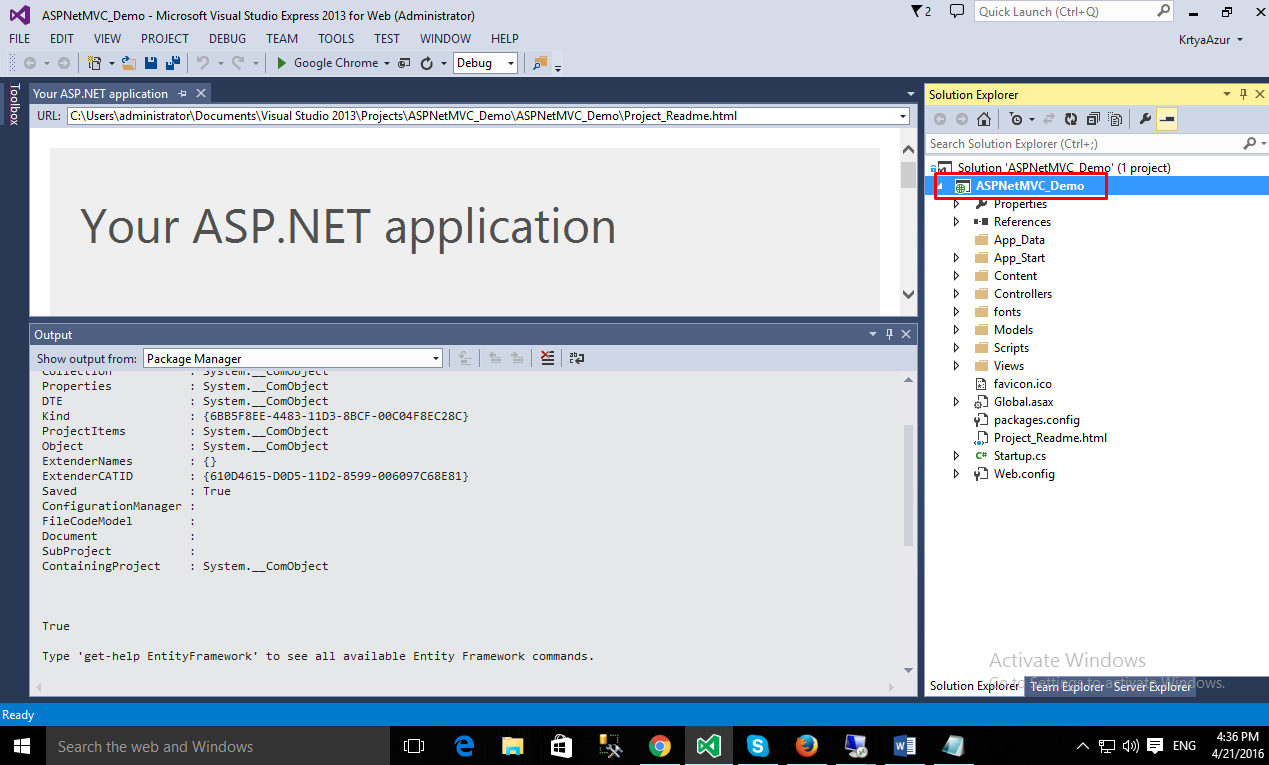 ASP.NET app is created