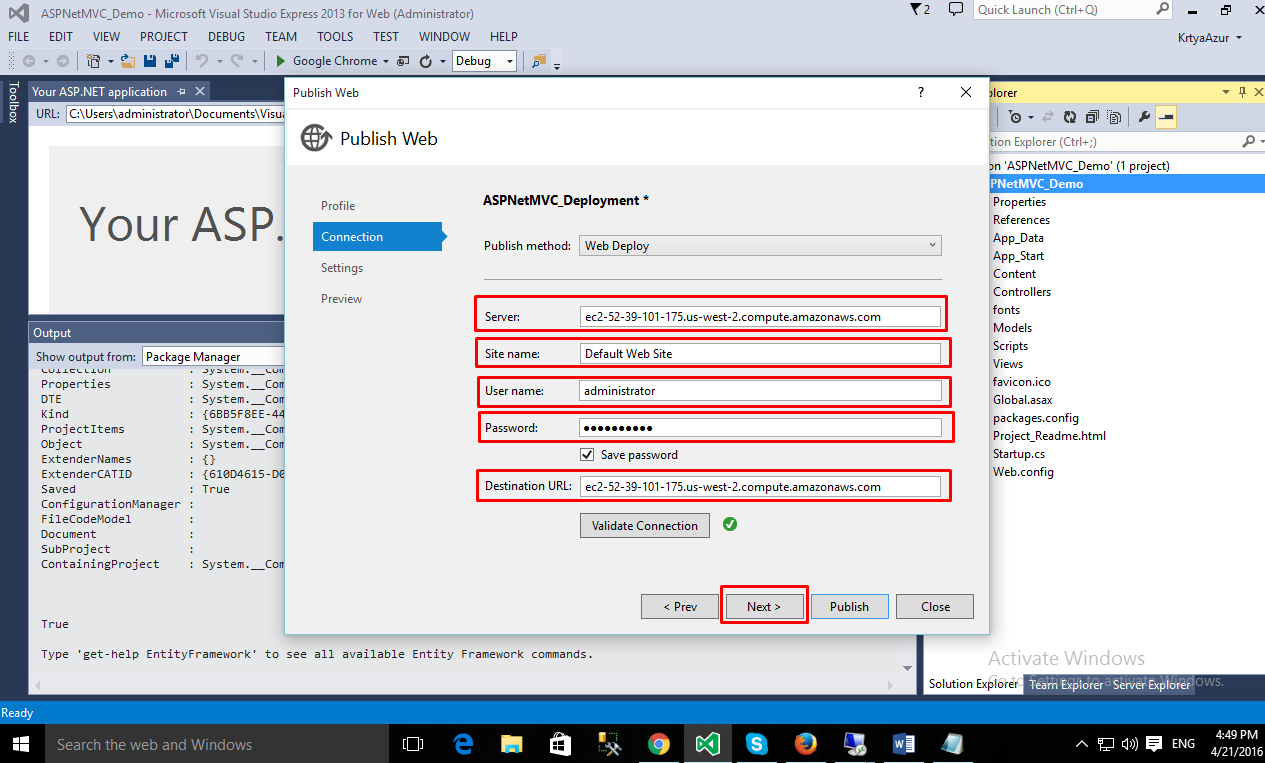 How to setup a Windows Server with ASP NET MVC App on AWS EC2