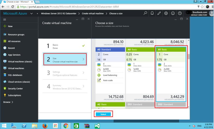 Azure VM Choose virtual machine size