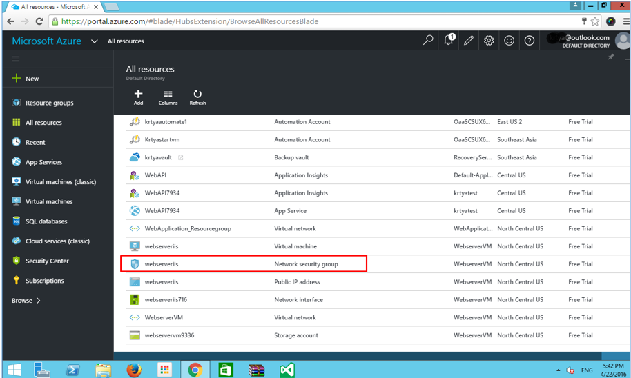 Azure virtual machine security settings