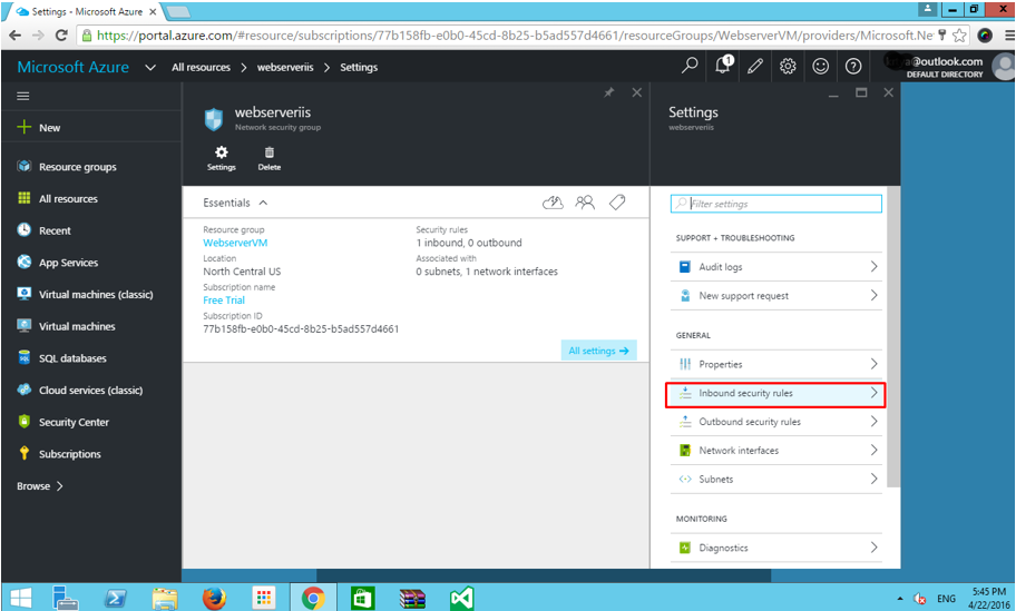 Azure VM inbound security rules configuration