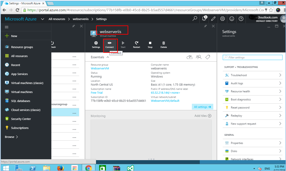 Azure VM connecting to virtual machine