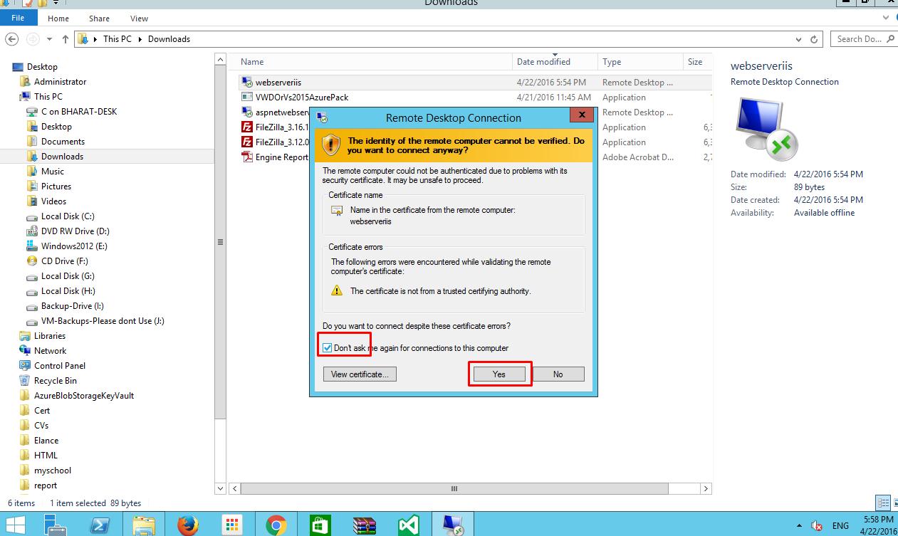 Azure remote desktop connection settings