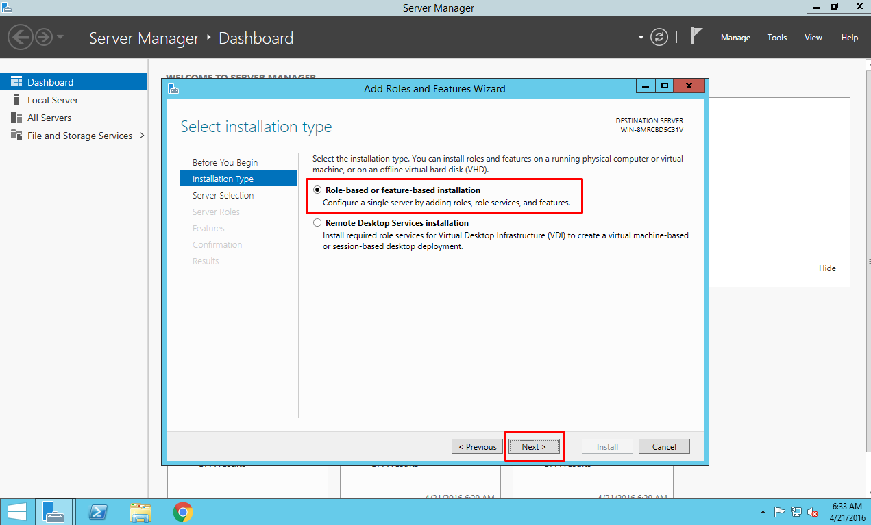 Role-based or feature-based installation option of IIS on Azure