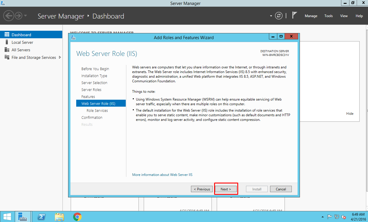 IIS on Azure, Add Roles and Features Wizard