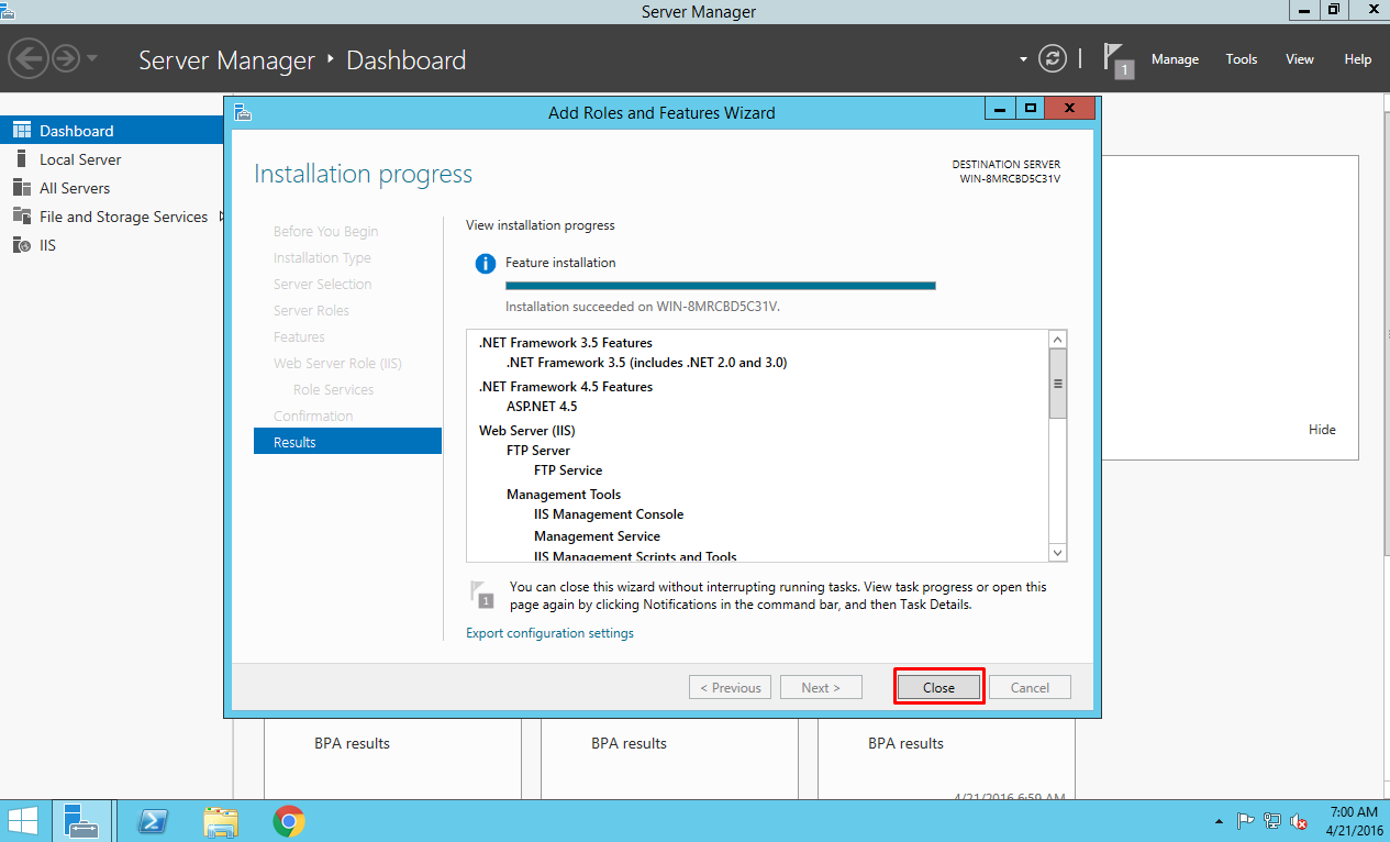 Finishing the installation of IIS on Azure VM