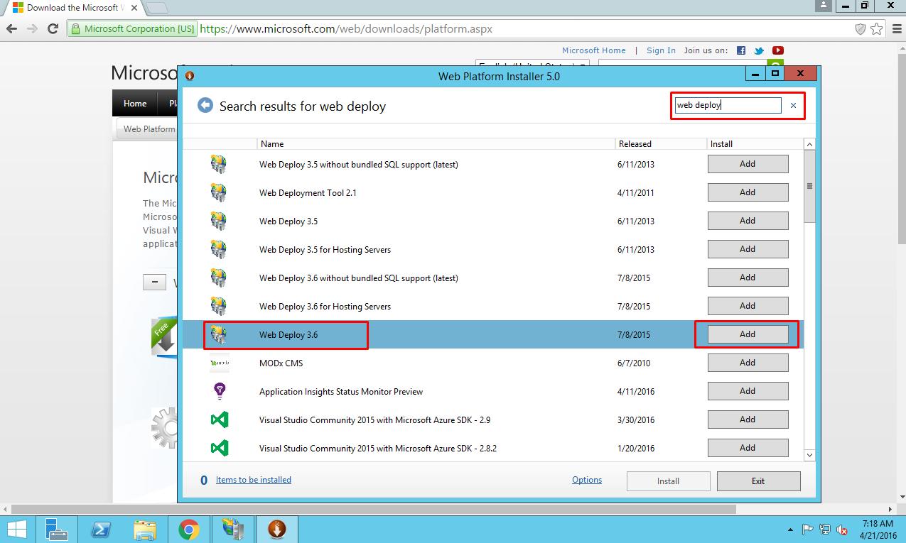 Choosing Web Deploy package for virtual machine