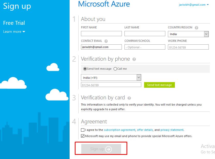 Signing up to Microsoft Azure