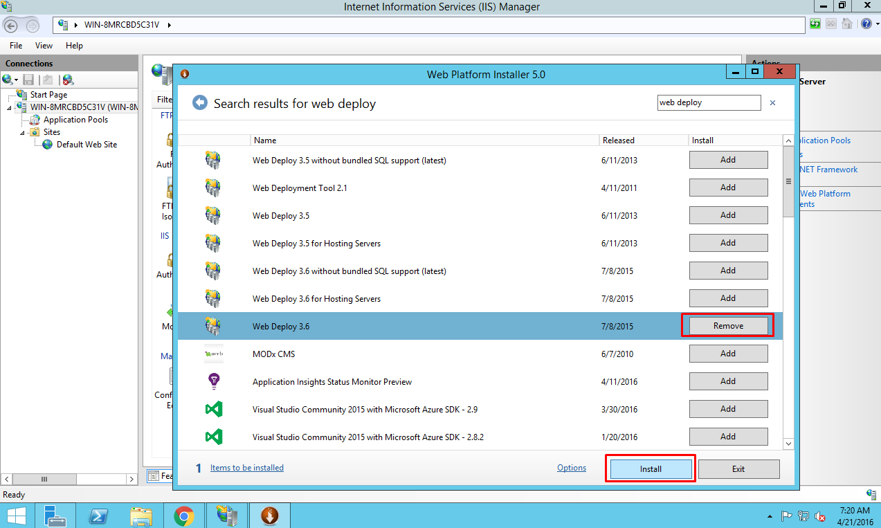 Install Web Deploy package on Azure VM