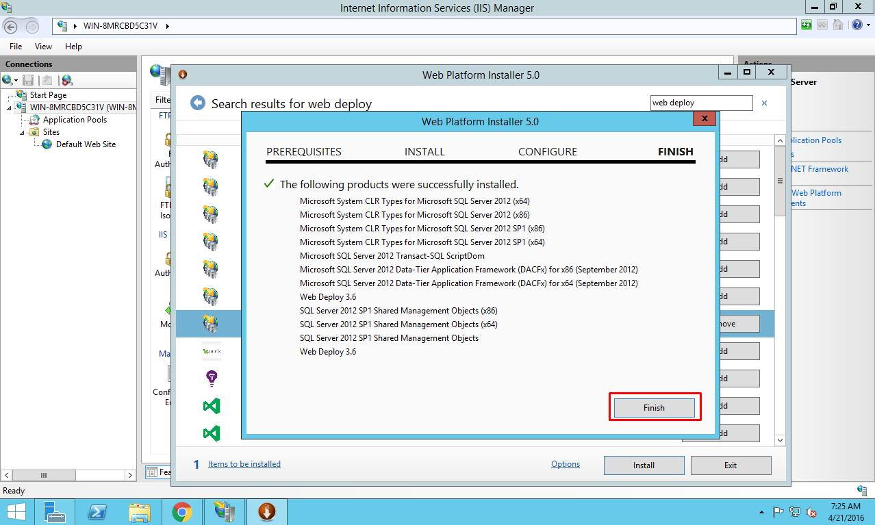 Finishing installation of Web deploy package on Azure virtual machine
