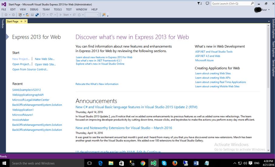 VS2015 Web Express Start Page