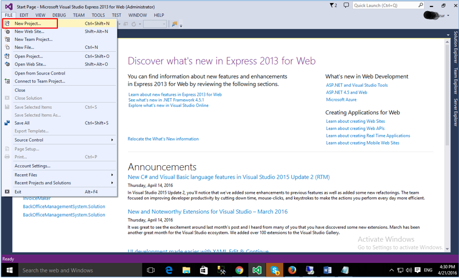 Creating new project in VS2015 Web Express