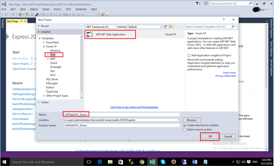Choosing project template in VS2015 Web Express