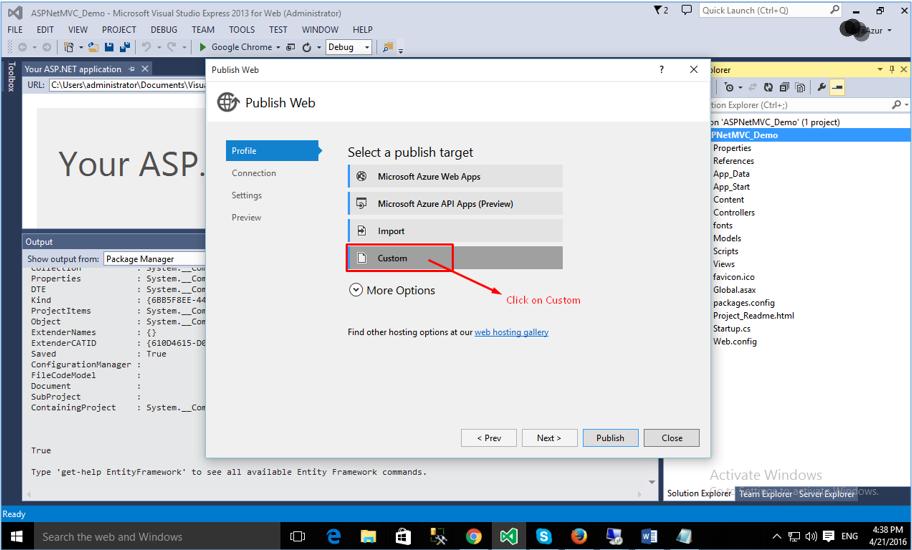 Deploying ASP.NET MVC Application: choose Custom profile