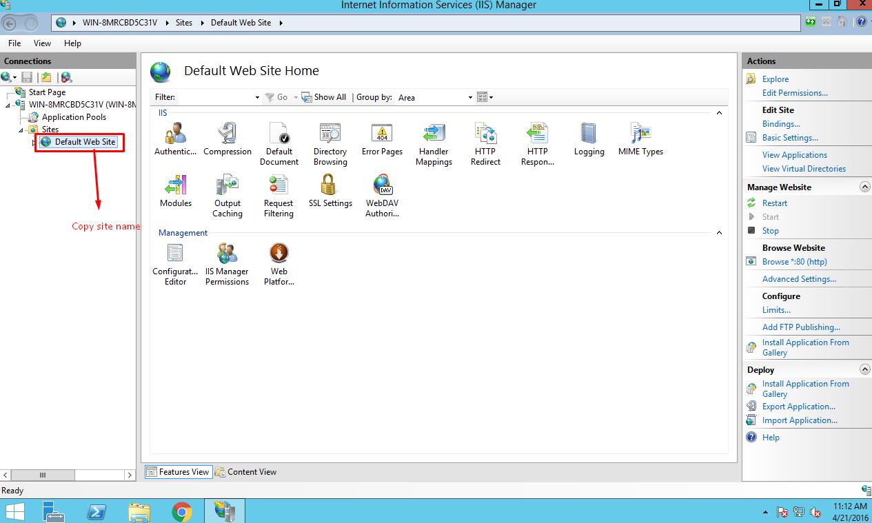 Deploying ASP.NET MVC Application: Copy site name