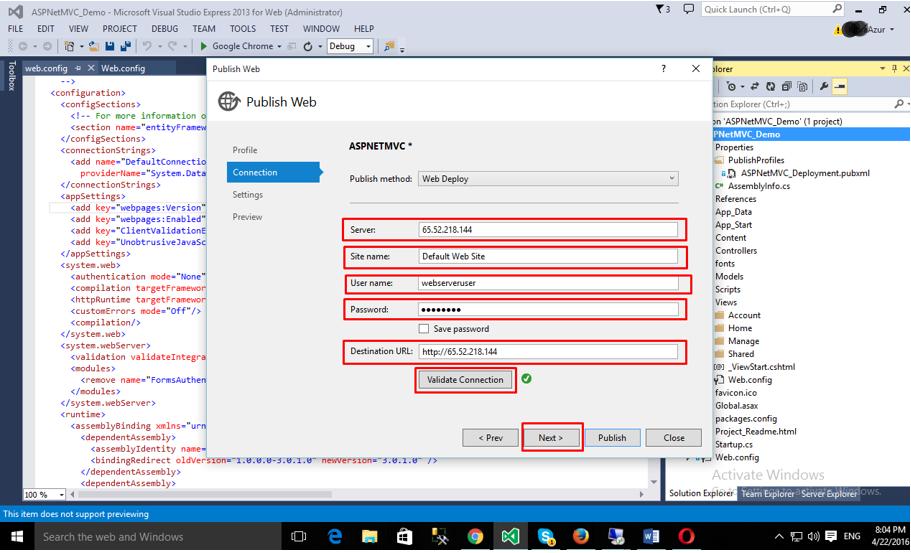 Deploying ASP.NET MVC App: Publishing the app