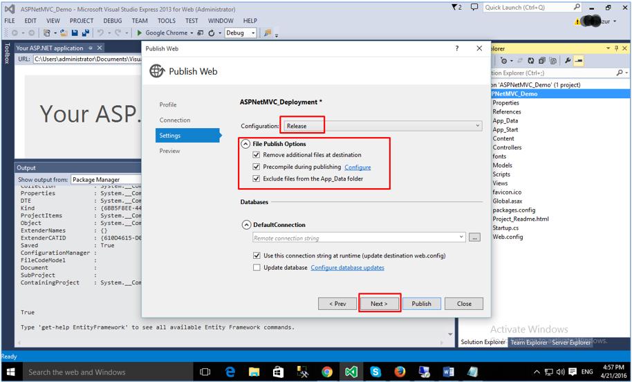Deploying ASP.NET MVC Application: publishing settings configuration