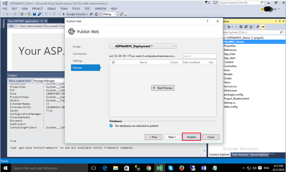 Deploying ASP.NET MVC Application with VS2015 Web Express: final step