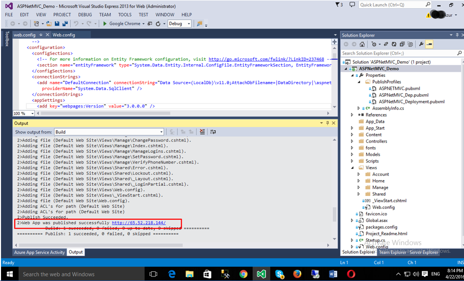ASP.NET application is published successfully from VS2015 Web Express