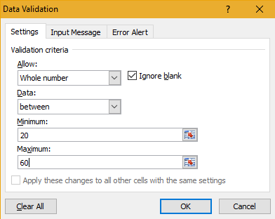 Microsoft Excel Data Input Restriction