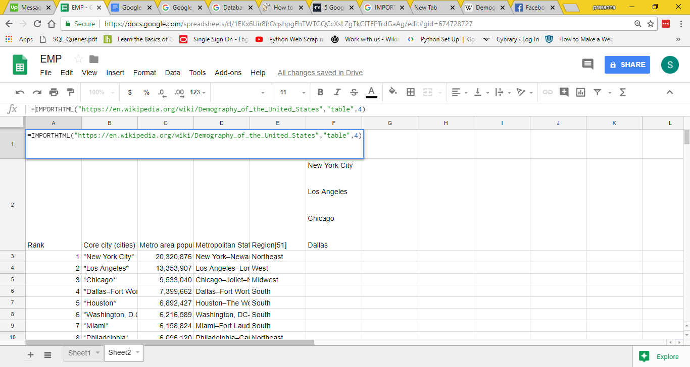 Google Sheets Import HTML Function
