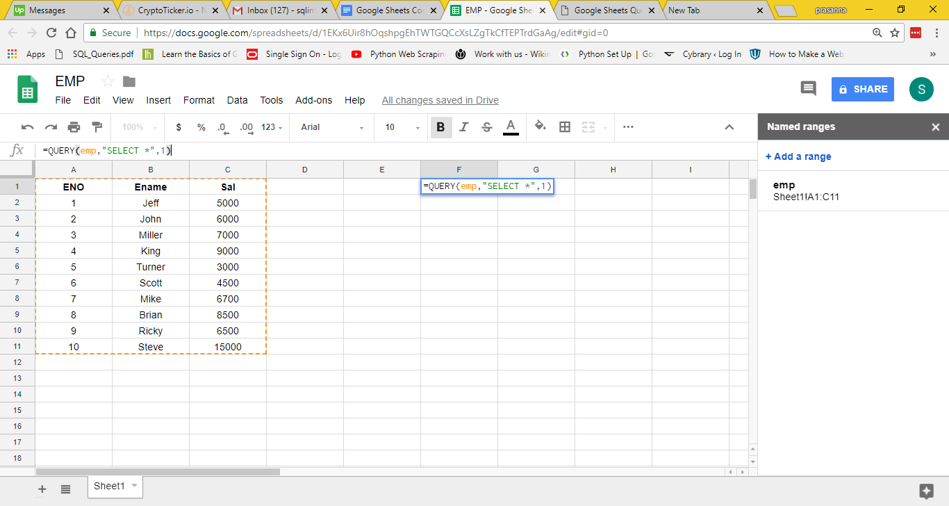Query Function Google Sheets