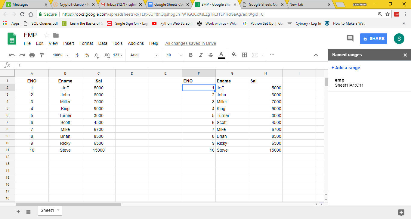 Google Sheets Query Feature