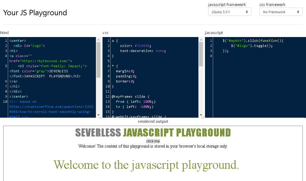 JavaScript Playground