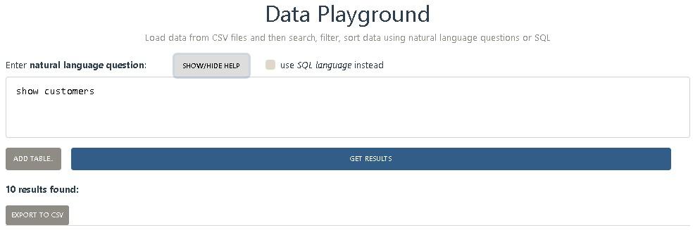 Data Playground CSV
