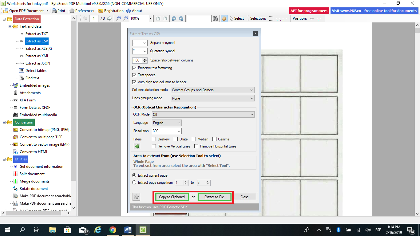 Convert PDF to CSV File
