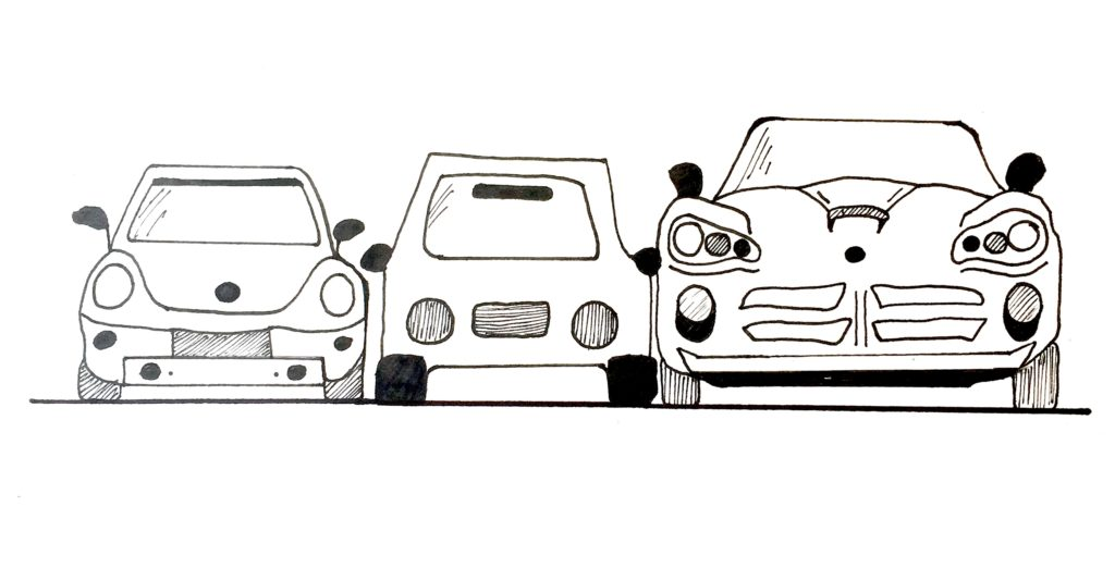 multiple cars one to each other comics