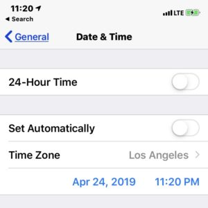 manually changing date and time in ios settings