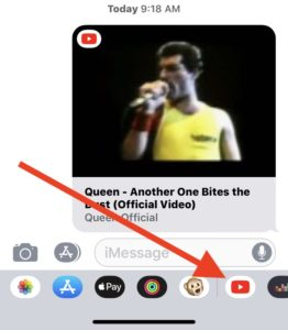 video through youtube applet in iMessage