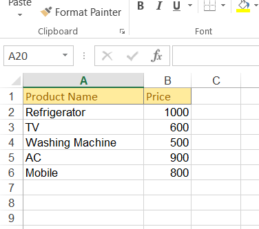 Excel Files Format