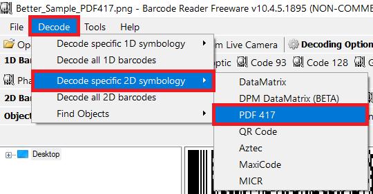 PDF417 Barcode Types