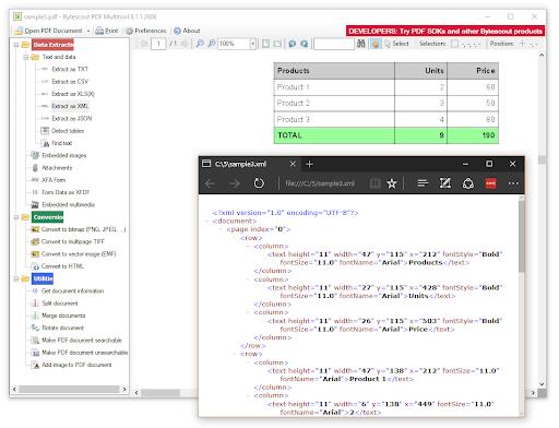 Extract as XML