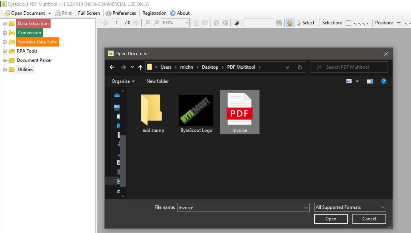 Open Invoice In PDF Multitool